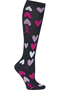 Cherokee 1 Pair Pack 12 mmHg Support Socks Pink Ribbon Heart (PRINTSUPPORT-PRHRT)