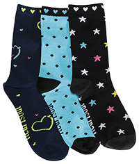 HeartSoul 1-3pr pack of Crew Socks Assorted (SUGARFIX-AST)