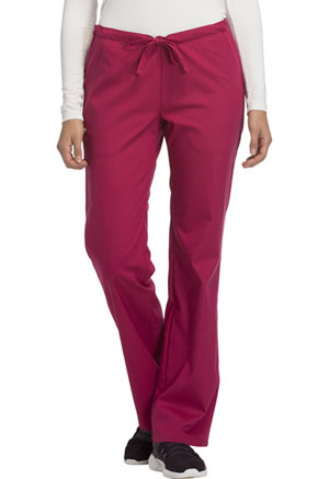 Cherokee Cherokee Luxe Women's Low Rise Straight Leg Drawstring Pant Red