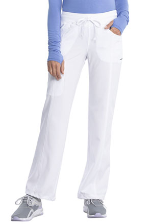 Cherokee Infinity by Cherokee Women's Low Rise Straight Leg Drawstring Pant White
