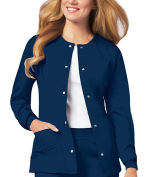 Cherokee Luxe Women's Snap Front Warm-Up Jacket Blue