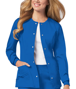 Cherokee Cherokee Luxe Women's Snap Front Warm-Up Jacket Blue