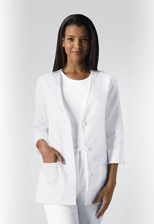 Cherokee 3/4 Sleeve Embroidered Jacket White (1491-WHTD)