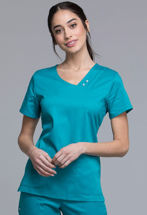 Cherokee Cherokee Luxe Women's Crossover V-Neck Pin-Tuck Top Green