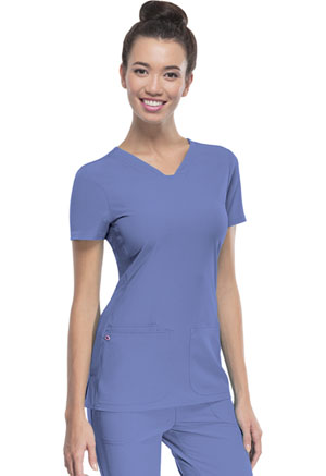 "HeartSoul Break on Through by HeartSoul Women's ""Pitter-Pat"" Shaped V-Neck Top Blue"