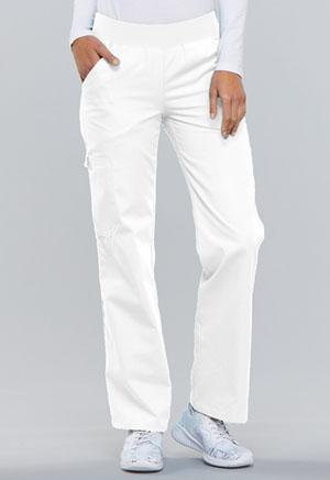 Cherokee Mid Rise Knit Waist Pull-On Pant White (2085-WHTS)
