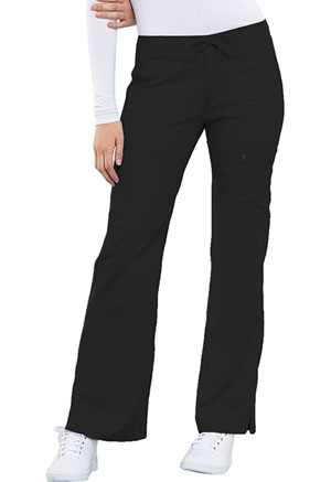 Cherokee Cherokee Luxe Women's Low Rise Flare Leg Drawstring Cargo Pant Black