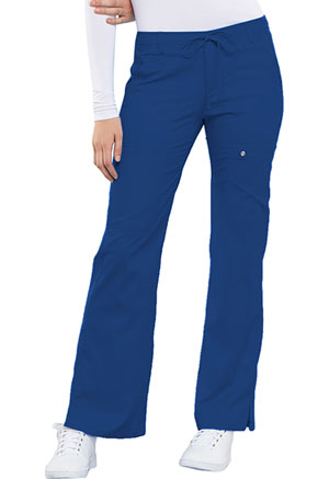 Cherokee Luxe Women's Low Rise Flare Leg Drawstring Cargo Pant Blue
