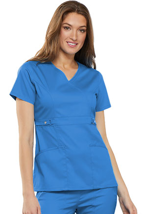 Cherokee Empire Waist Mock Wrap Top Blue Bell (21701-BUEL)