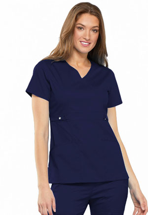 Cherokee Empire Waist Mock Wrap Top Navy (21701-NAVV)