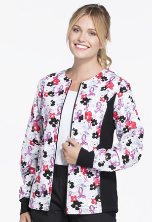 Cherokee Zip Front Knit Panel Warm-Up Jacket Love On The Line (2315C-LOLN)