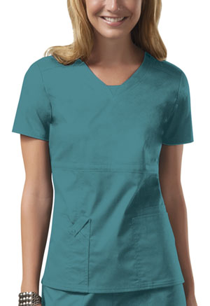 Cherokee Workwear V-Neck Top Teal Blue (24703-TLBW)