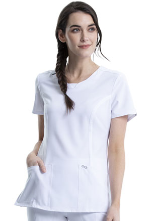 Cherokee Round Neck Top White (2624A-WTPS)