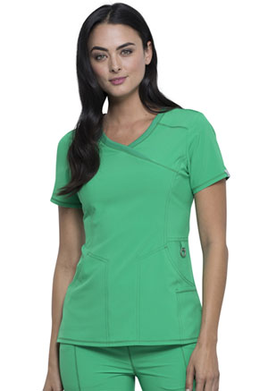 Cherokee Mock Wrap Top Bright Green (2625A-BTGE)