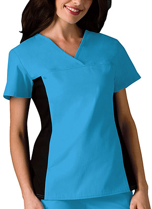 Cherokee V-Neck Knit Panel Top Turquoise (2874-TRQB)