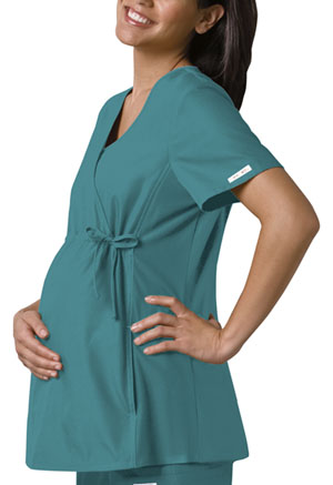 Cherokee Cherokee Flexibles Women's Maternity Mock Wrap Knit Panel Top Green