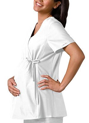 Cherokee Cherokee Flexibles Women's Maternity Mock Wrap Knit Panel Top White