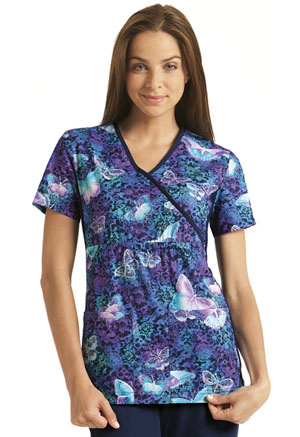 Cherokee Mock Wrap Knit Panel Top Midnight Flight (2915C-MFLI)