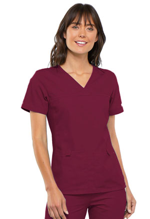 Cherokee V-Neck Knit Panel Top Wine (2968-WNEB)