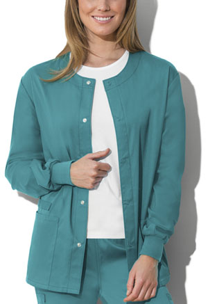 Cherokee Workwear Unisex Snap Front Warm-up Jacket Teal Blue (34350A-TLBW)