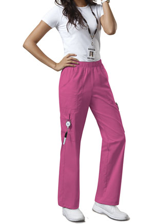 Cherokee Workwear Mid Rise Pull-On Pant Cargo Pant Shocking Pink (4005-SHPW)
