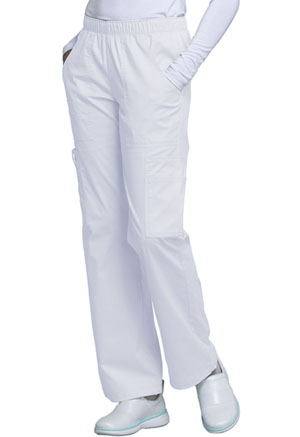 Cherokee Workwear Mid Rise Pull-On Pant Cargo Pant White (4005-WHTW)