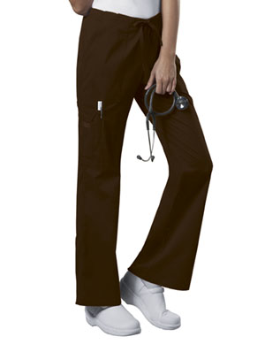 Cherokee Workwear Mid Rise Drawstring Cargo Pant Chocolate (4044-CHCW)