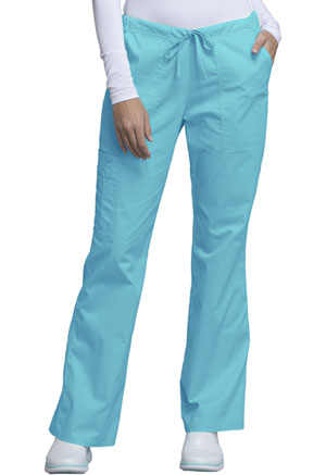Cherokee Workwear Mid Rise Drawstring Cargo Pant Turquoise (4044-TRQW)