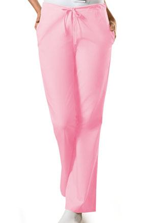 Cherokee Workwear WW Originals Women's Natural Rise Flare Leg Drawstring Pant Pink