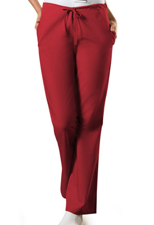 Cherokee Workwear Natural Rise Flare Leg Drawstring Pant Red (4101T-REDW)