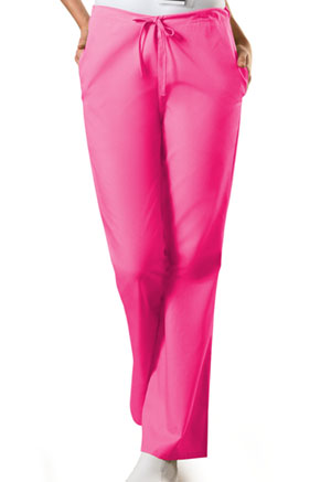 Cherokee Workwear Natural Rise Flare Leg Drawstring Pant Shocking Pink (4101T-SHPW)