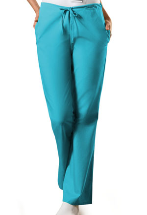 Cherokee Workwear Natural Rise Flare Leg Drawstring Pant Turquoise (4101T-TRQW)