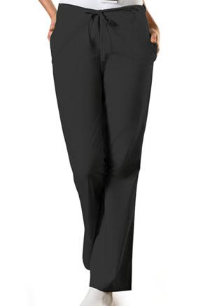 ec0ce7b89e9 Cherokee Workwear Natural Rise Flare Leg Drawstring Pant Black (4101-BLKW)