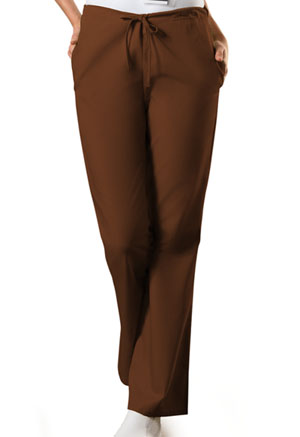Cherokee Workwear Natural Rise Flare Leg Drawstring Pant Chocolate (4101-CHCW)