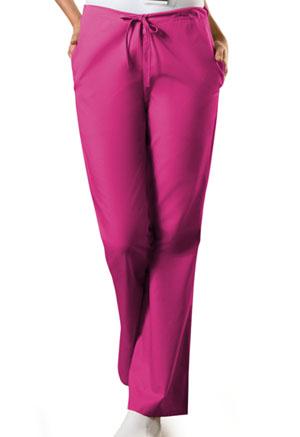 Cherokee Workwear WW Originals Women's Natural Rise Flare Leg Drawstring Pant Red