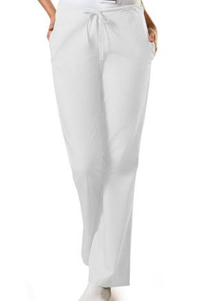 Cherokee Workwear WW Originals Women's Natural Rise Flare Leg Drawstring Pant White