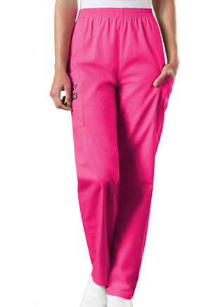 Cherokee Workwear Natural Rise Tapered Pull-On Cargo Pant Shocking Pink (4200-SHPW)