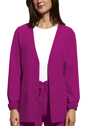 Cherokee Workwear Cardigan Warm-Up Jacket Raspberry (4301-RASW)