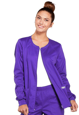 Cherokee Workwear Zip Front Jacket Grape (4315-GRPW)