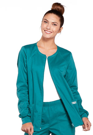 Cherokee Workwear Zip Front Jacket Teal Blue (4315-TLBW)