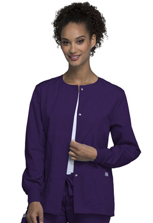 Cherokee Workwear Snap Front Warm-Up Jacket Eggplant (4350-EGGW)