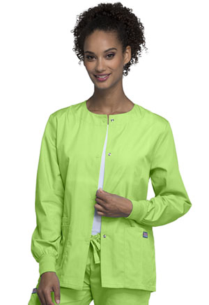 Cherokee Workwear Snap Front Warm-Up Jacket Lime Green (4350-LMGW)