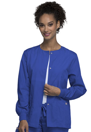 Cherokee Workwear Snap Front Warm-Up Jacket Royal (4350-ROYW)