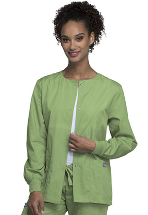 Cherokee Workwear Snap Front Warm-Up Jacket Sage Green (4350-SAGW)