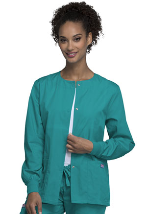 Cherokee Workwear Snap Front Warm-Up Jacket Teal Blue (4350-TLBW)