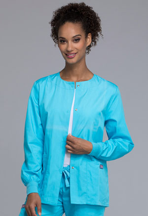 Cherokee Workwear Snap Front Warm-Up Jacket Turquoise (4350-TRQW)