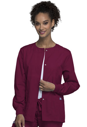 Cherokee Workwear Snap Front Warm-Up Jacket Wine (4350-WINW)