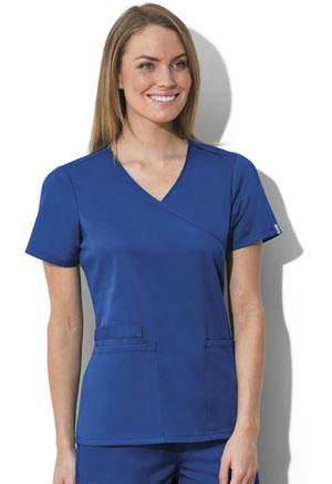 Cherokee Workwear WW Flex Women's Mock Wrap Top Blue