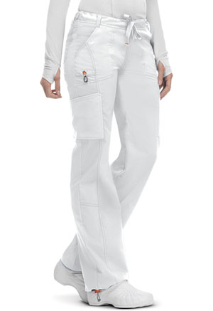 Code Happy Bliss Women's Low Rise Straight Leg Drawstring Pant White