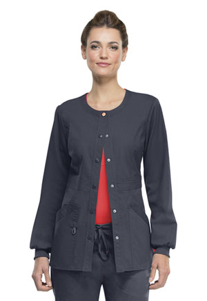 Code Happy Bliss Snap Front Warm-up Jacket in Pewter (46300AB - PWCH)